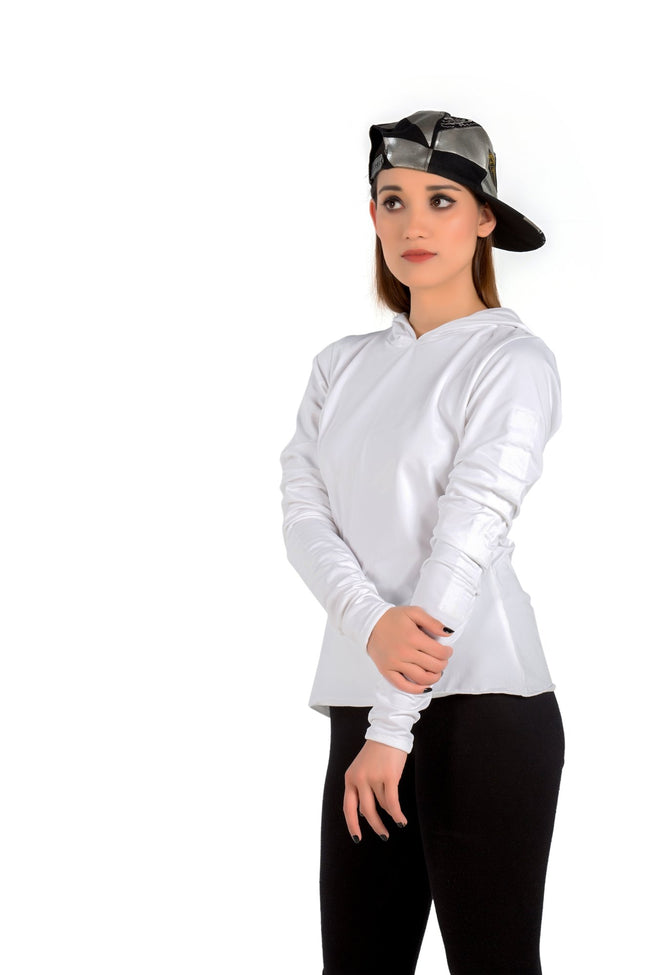 White Gathered Sleeves Hoodie Top - Eudora Cut