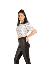 Stunning Half Sleeve White Crop Top - Eudora Cut
