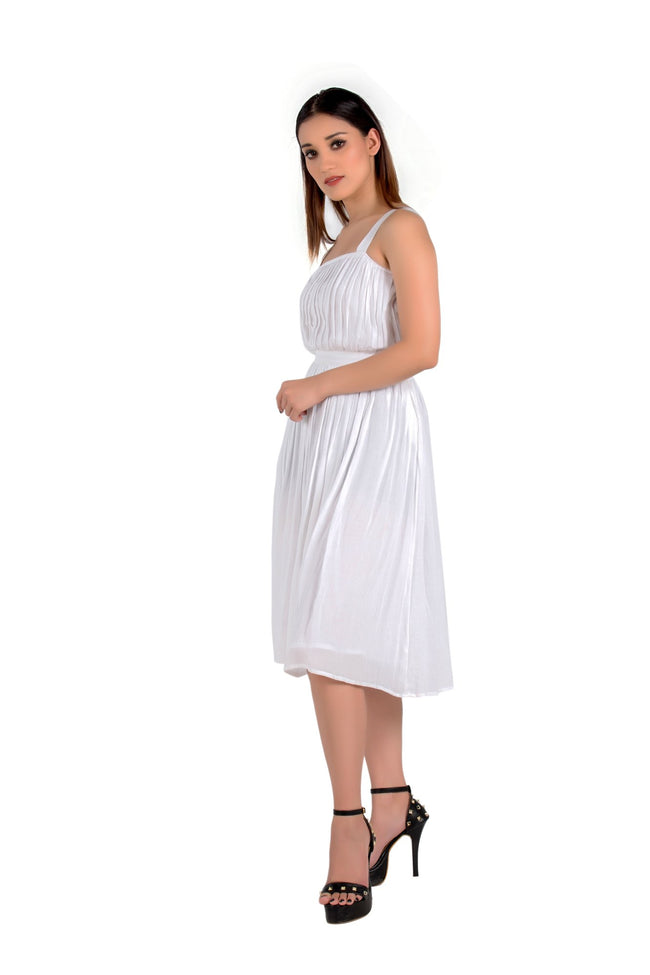 Puff Knee Length White Dress - Eudora Cut