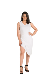 Catchy Side Slit Sleeveless White Dress