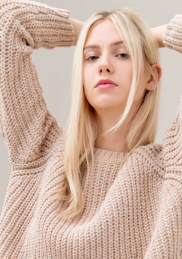 Knitwear over fit, round neck with fisherman's rib effect