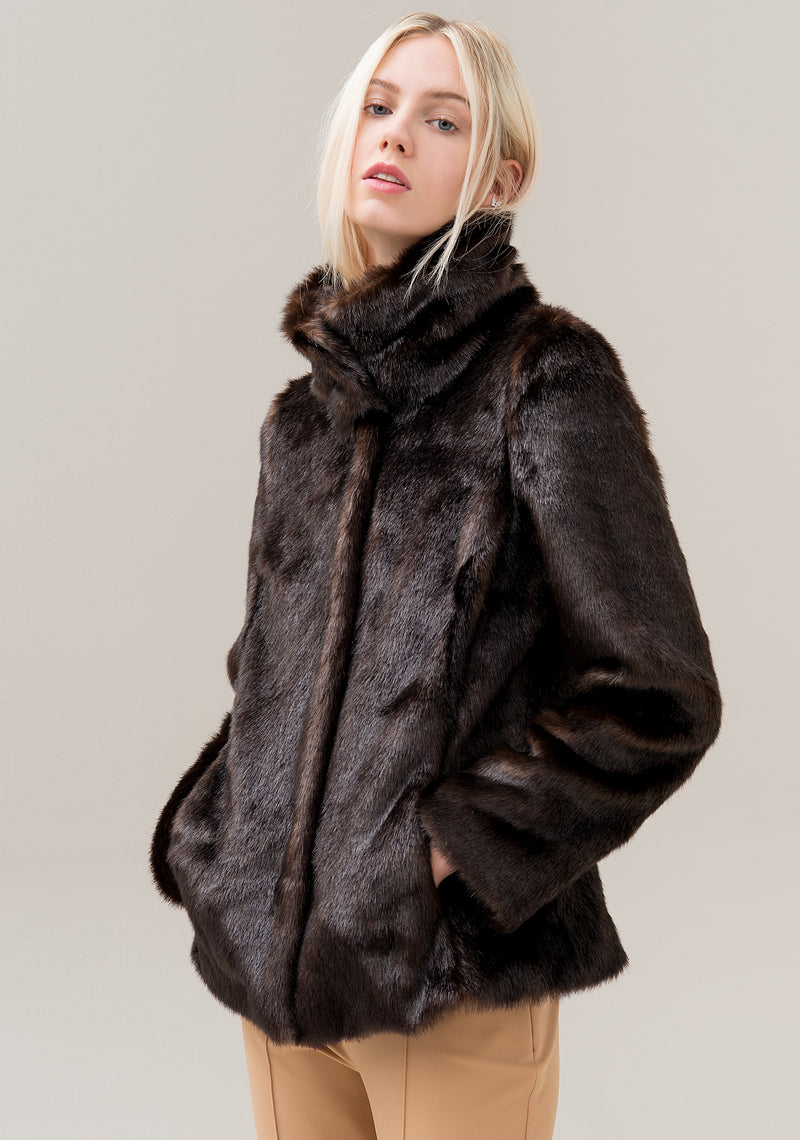 Jacket regular fit made in eco fur with long sleeves-FRACOMINA-F120W07006E00201
