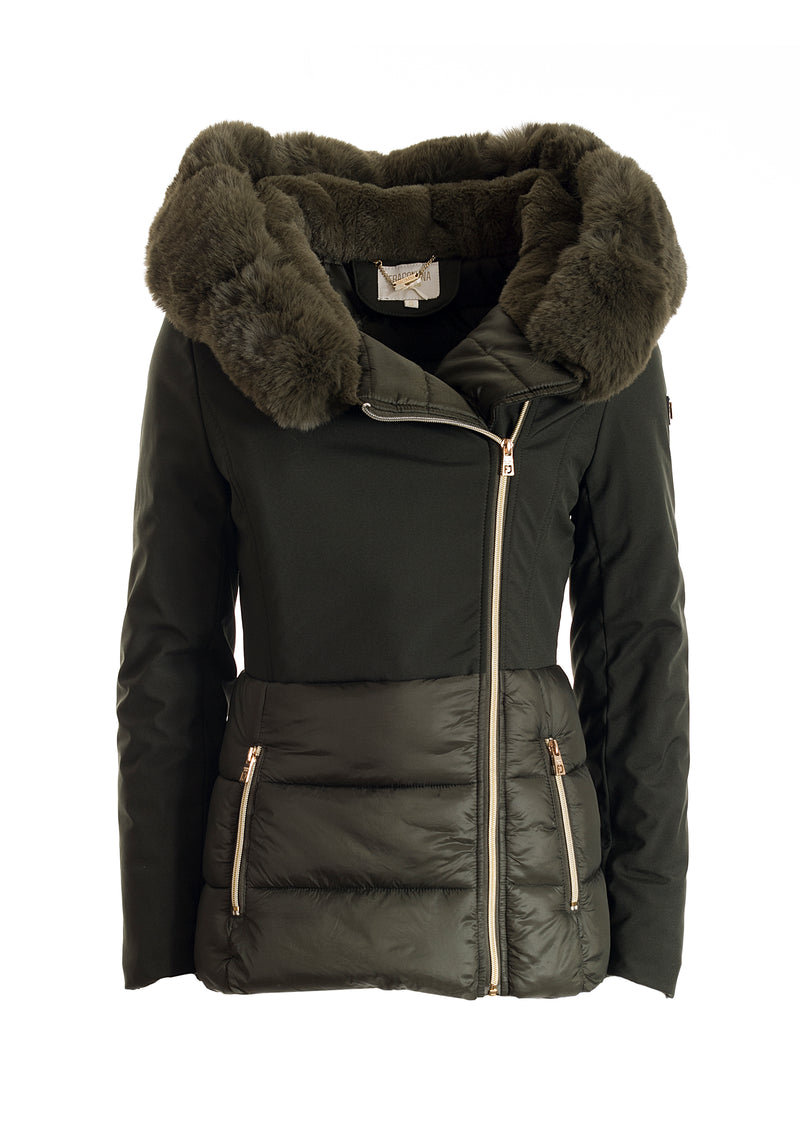 Padding jacket regular fit, long, with eco fur neck applied