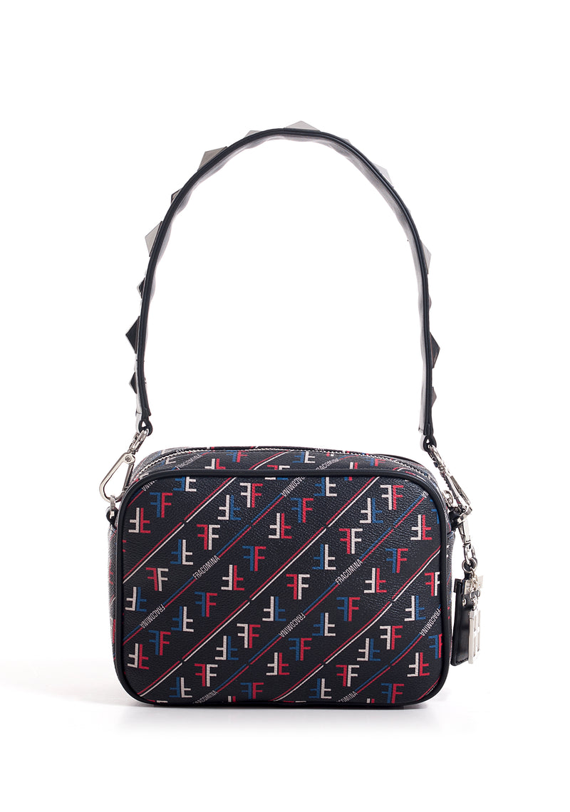 Shoulder bag mini size with multicolor pattern made in eco leather