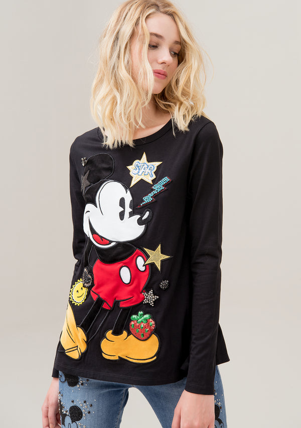T-shirt regular fit made in jersey with Disney's Mickey Mouse embroidery