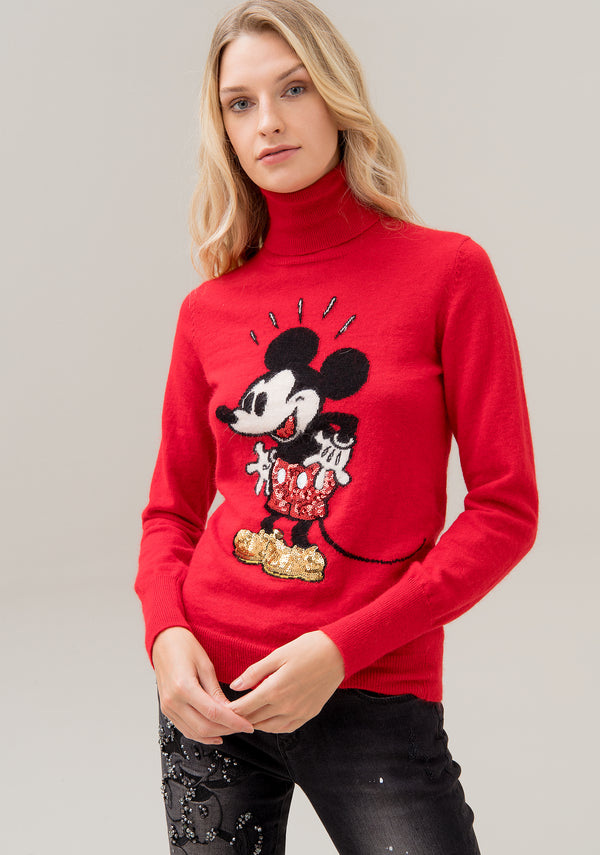 Knitwear regular fit, high neck and Disney's Mickey Mouse jacquard effect