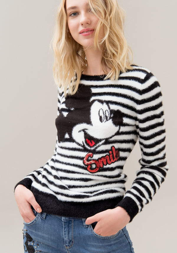 Knitwear regular fit with striped double color jacquard effect and Disney's Mickey Mouse