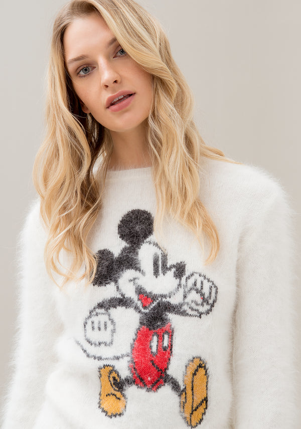 Knitwear regular fit made in angora with  Disney's Mickey Mouse jacquard effect