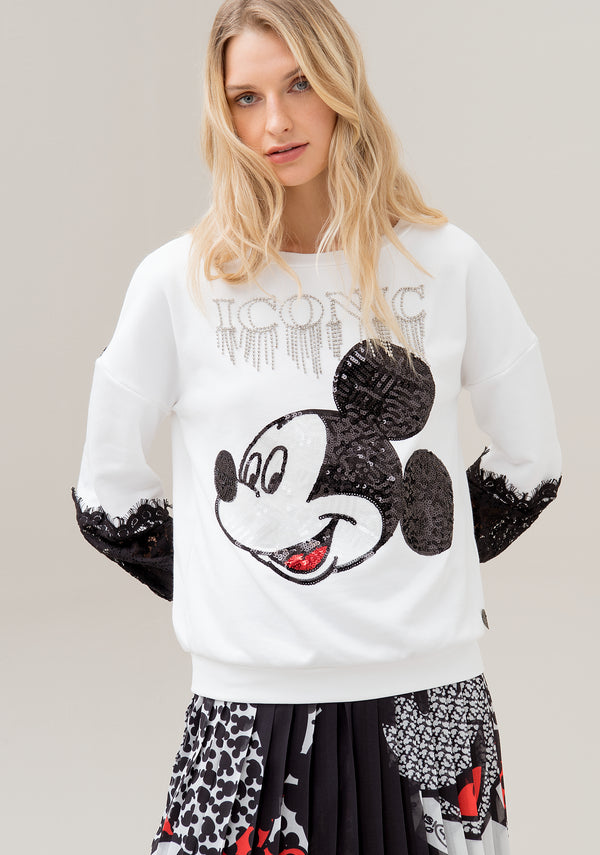 Sweater over fit with Disne's Mickey Mouse sequins embroidery