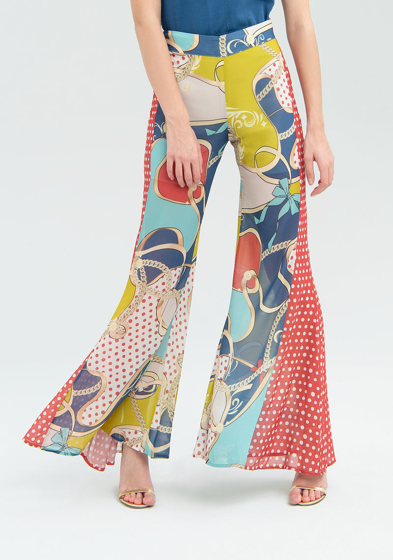 Mix-patterned wide leg trousers-FRACOMINA-FR20SM059