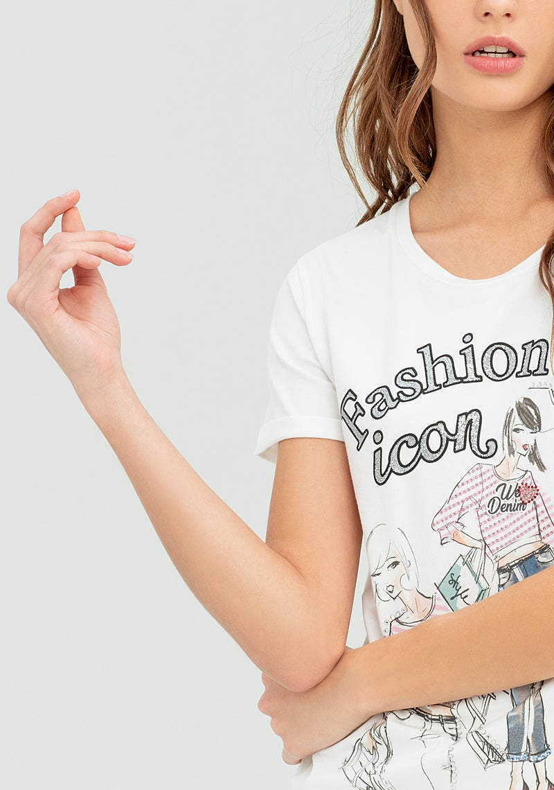 T-shirt with Fashion Icon print-FRACOMINA-FR20SP365