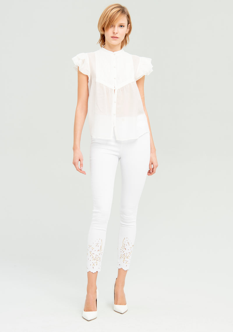 Transparent shirt with ruffles