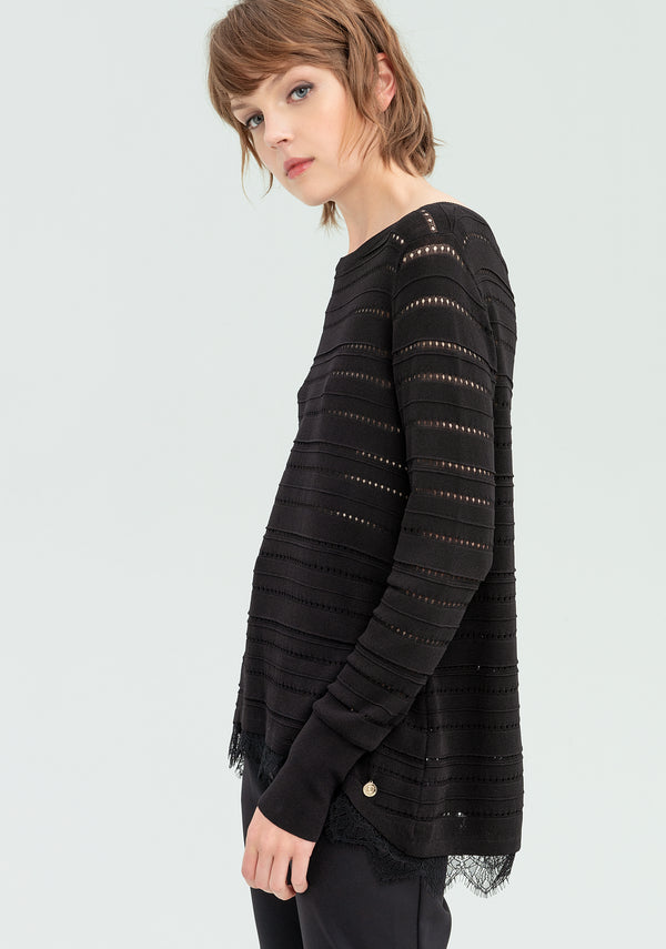 Pierced sweater with lace-FRACOMINA-FR20SP8032