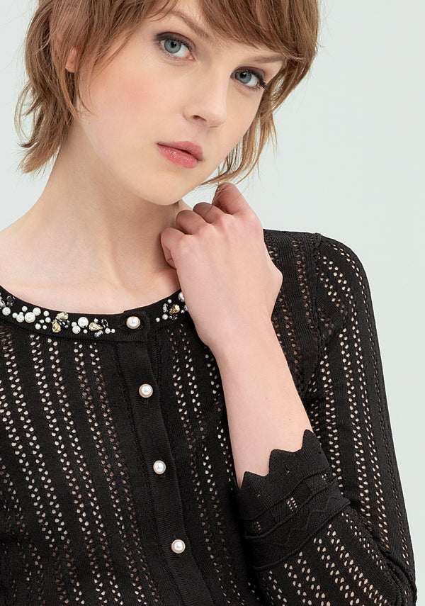 Pierced cardigan with beads-FRACOMINA-FR20SP8033