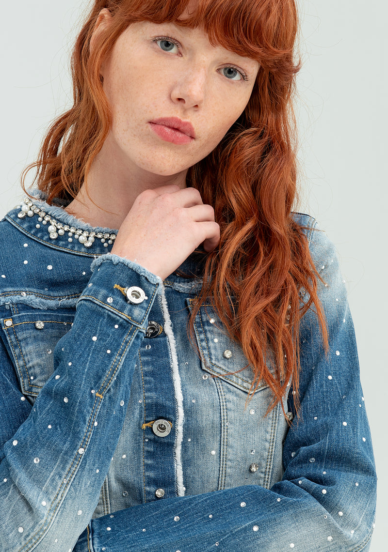Denim jacket with beads