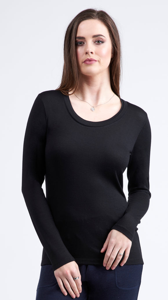 Vassalli 100% Merino Basic Long Sleeve Crew Neck top