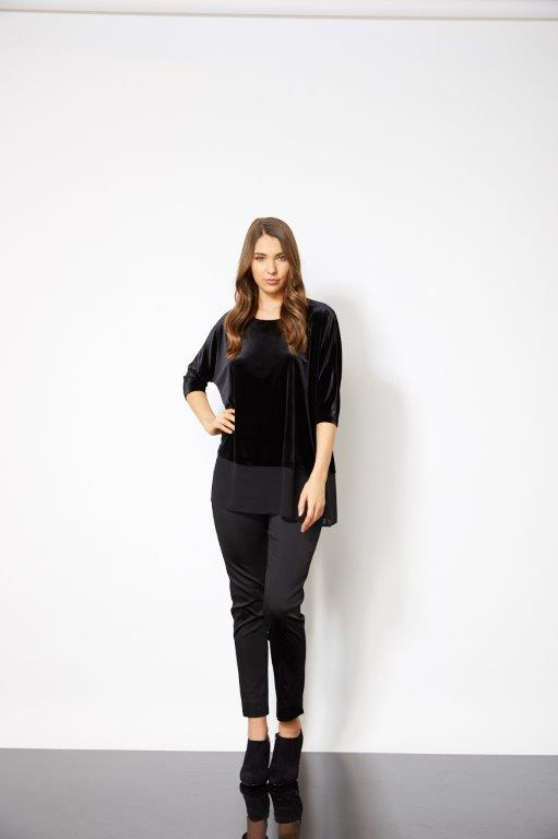 Philosophy Velour Chiffon Hem Tunic Black - Women's Winter Fashion