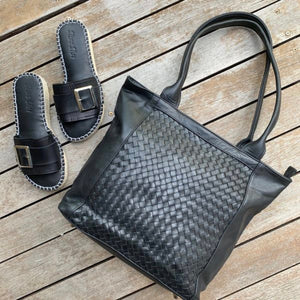 Shoe Shu Distressed Black Woven Tote Bag