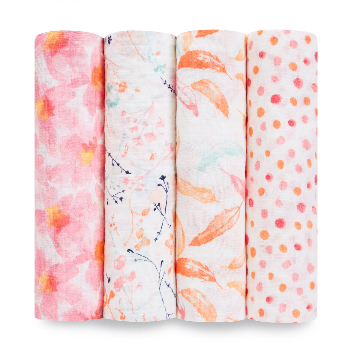 petal blooms classic 4-pack muslin swaddles