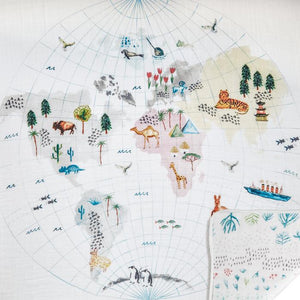 aden+anais around the world-english map classic muslin dream blanket