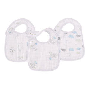 night sky reverie muslin adjustable snap bibs 3-pack