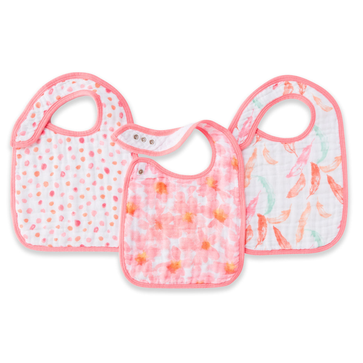 petal bloom pop 3-pack classic muslin snap bibs