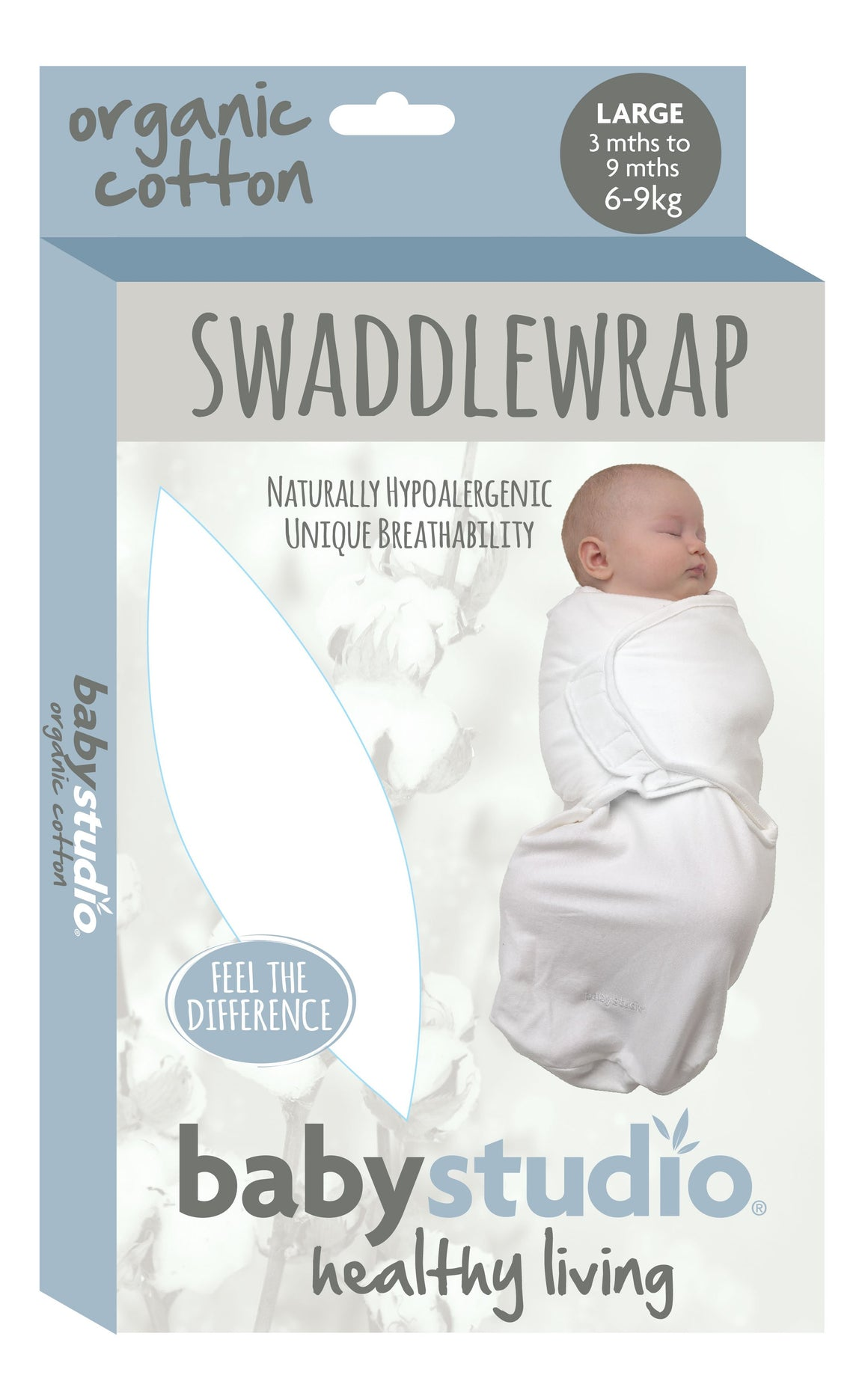 ORGANIC COTTON SWADDLEWRAP SMALL 0-3M 1.0 TOG - NAVY *AVAILABLE FEB 2020*