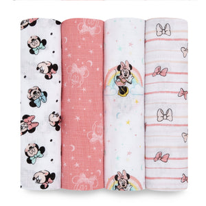 aden+anais essentials DISNEY Minnie 4 pack muslin swaddles
