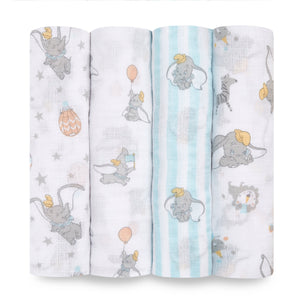 aden+anais essentials DISNEY Dumbo 4 pack muslin swaddles