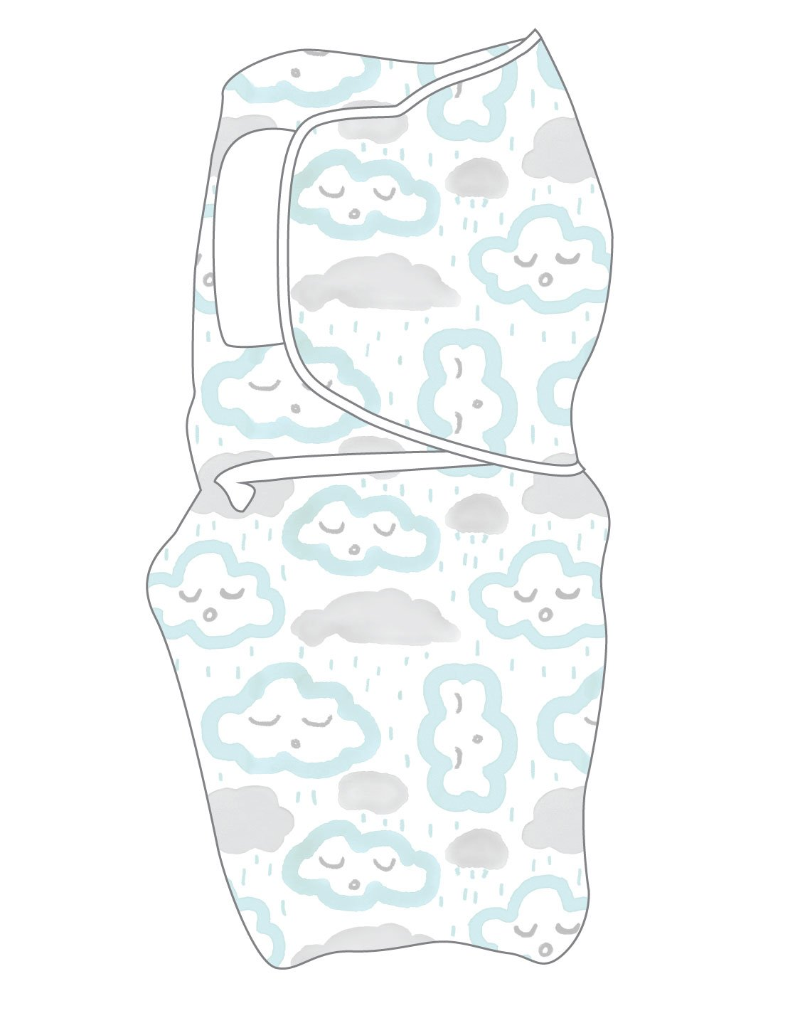 Swaddlewrap Small CLOUDS - PEPPERMINT