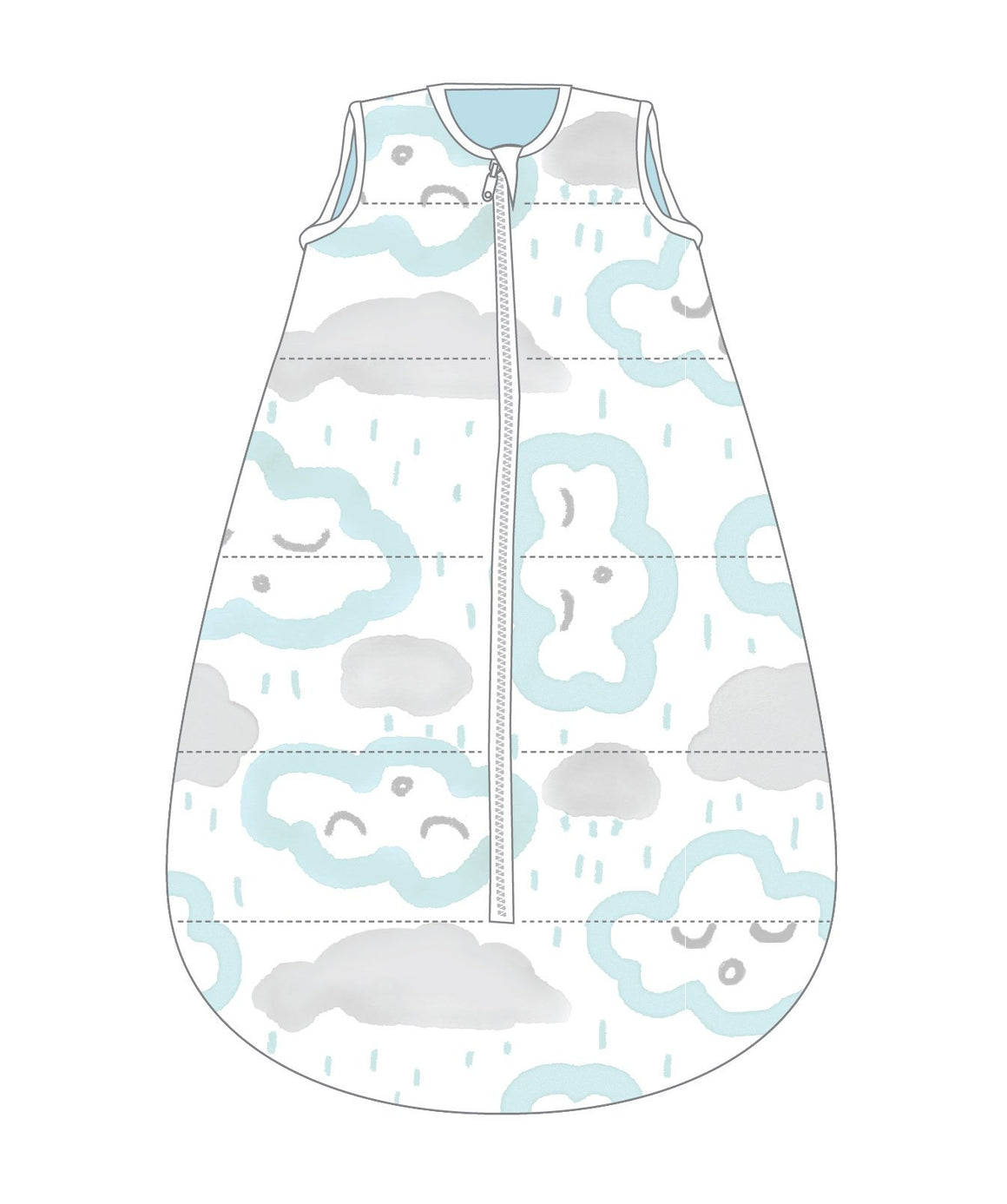 Studio Bag No Arms Cotton 6-18m 1.0 TOG CLOUDS PEPPERMINT