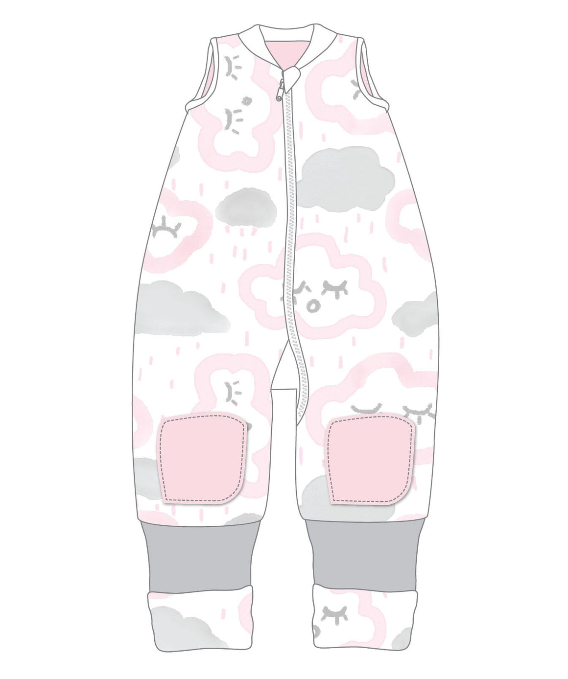 Warmies No Arms Cotton 2-3 Years 2.5 TOG CLOUDS PINK