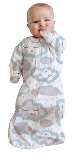 0-3m COTTON All in One Swaddle Bag CLOUDS PEPPERMINT