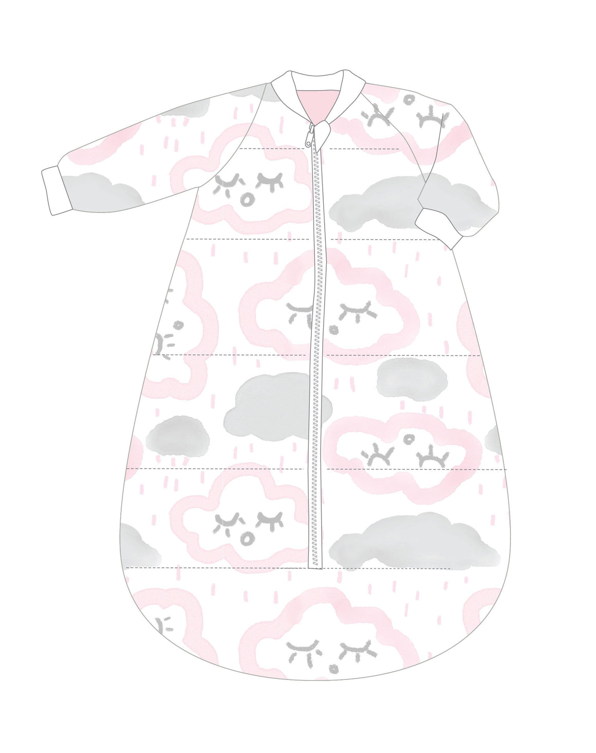 Studio Bag With Arms Cotton 6-18m 3.0 CLOUDS PINK