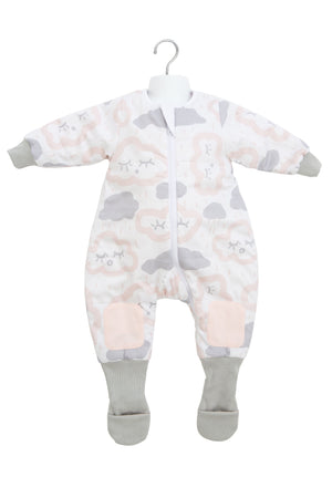 6-12m COTTON Warmies Sleeping bag with Arms and Legs 3.0 TOG - CLOUDS PINK