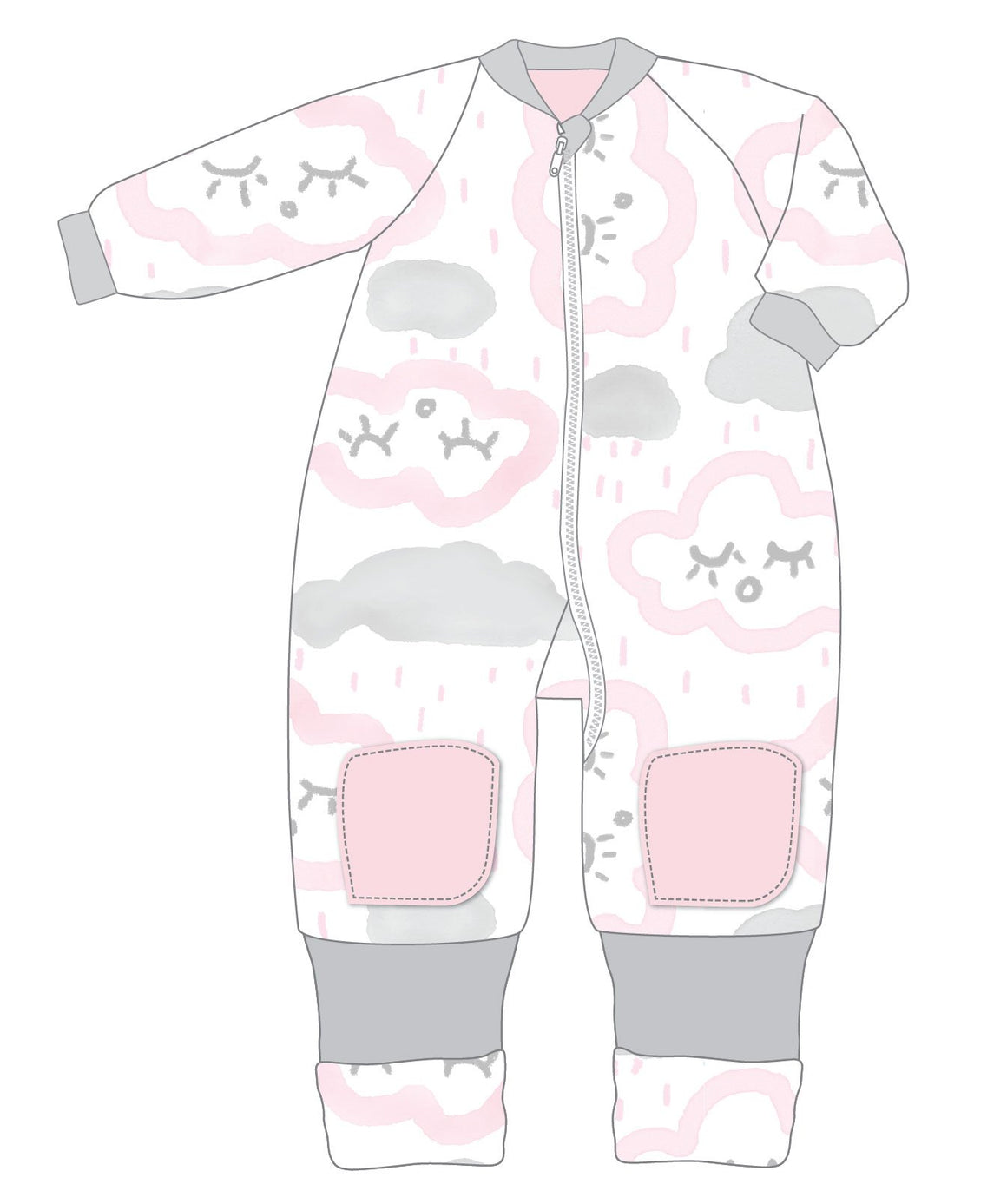 Warmies 2-3 Years Cotton With Arms 3.0 TOG CLOUDS PINK