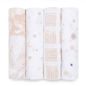 aden To The Moon 4 pack muslin swaddles