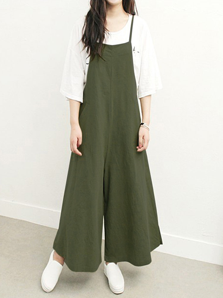 Plus Size Women Overalls Bib Pants Loose Pockets Jumpsuit