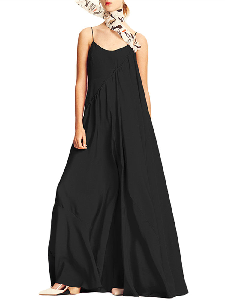 Womens Casual  Sleeveless Solid Summer Long Maxi Dress