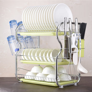 3 Tier Chrome Dish Drying Rack Drainer Cutlery Cups Holder Drip Kitchen Storage Arrangement for Dishes