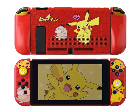 Nintendo Switch Protection Casing Cover__ Pikachu & Psyduck (Red)
