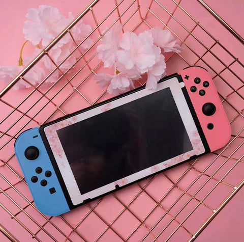 Sakura Glass Tempered Screen with Patterned Frame screen protector_ For Nintendo Switch