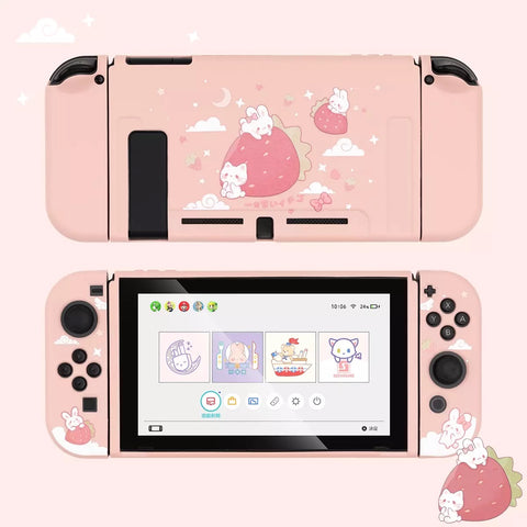 Strawberry Bunny Cat Pink Pastel colors__Nintendo Switch Protection Casing Cover