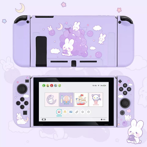 Grape Bunny Purple Pastel colors__Nintendo Switch Protection Casing Cover