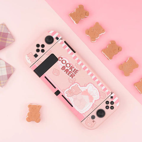 Cookie Baer Pink Pastel colors__Nintendo Switch Protection Casing Cover
