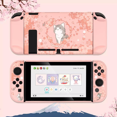 Sakura Cat Pink Pastel colors__Nintendo Switch Protection Casing Cover
