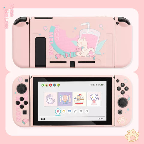 Iced Melon Cat Pink Pastel colors__Nintendo Switch Protection Casing Cover