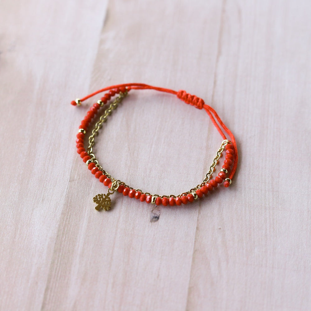 Pulsera Julieta simple tono rojo - árbol