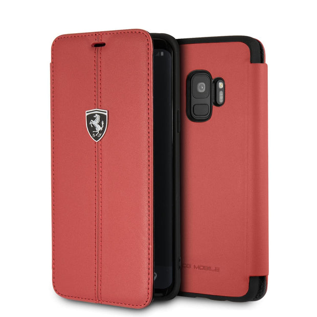 Ferrari Real Leather with Vertical Stripe Wallet - Samsung