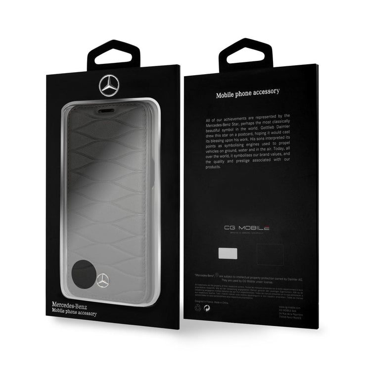 Mercedes-Benz Real Leather Pattern 3 Wallet - Samsung